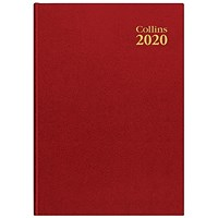 Collins 2020 Royal Desk Diary, Day to a Page, A5, Red