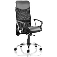 Trexus Vegas Executive Chair With Headrest, Leather Seat, Mesh Back, Black