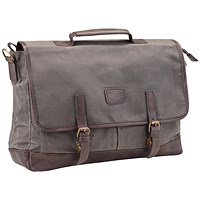 Pride and Soul Vegas Laptop Briefcase, 15 inch Capacity, Grey/Brown