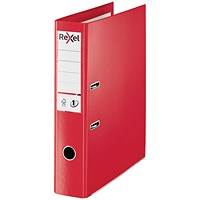Rexel Choices Foolscap Lever Arch File, Plastic, 75mm Spine, Red