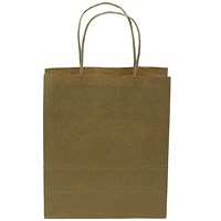 Kraft Paper Carrier Bag, Small, 180x215x80mm, Natural Brown, Pack of 100