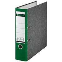 Leitz A4 Lever Arch Files, 80mm Spine, Green, Pack of 10