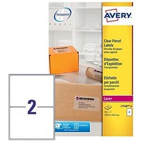 Avery Laser Parcel Labels / 2 per Sheet / 199.6x143.5mm / Clear Gloss / L7568-25 / 50 Labels