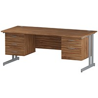 Trexus 1800mm Rectangular Desk, Silver Legs, 2 Pedestals, Walnut