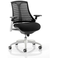 Trexus Flex Task Operator Chair, Black Seat, Black Back, White Frame