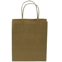 Kraft Paper Carrier Bag, Twisted Handles, Medium, 260x340x120mm, 90g, Natural Brown, Pack of 100