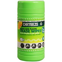 Dirteeze Glass & Plastic Trade Wipes, Dispenser Tub, 200 x 250mm, 70 Wipes