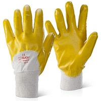 Click 2000 Nitrile Knitwrist Palm Coated Gloves, Medium, Yellow, Pack of 100
