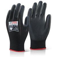 Click 2000 Pu Coated Gloves, Large, Black, Pack of 100