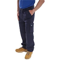 Click Traders Newark Cargo Trousers, Size 34, Navy Blue