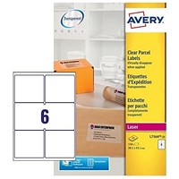 Avery Laser Parcel Labels, 2 per Sheet, 99.1x93.1mm, Clear Gloss, L7566-25, 150 Labels