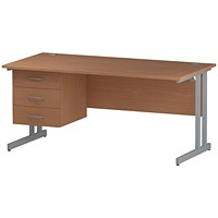 Trexus 1600mm Rectangular Desk, Silver Legs, 3 Drawer Pedestal, Beech