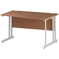 Trexus 1400mm Wave Desk, Right Hand, White Legs, Beech