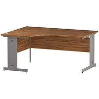 Trexus 1600mm Corner Desk, Left Hand, Cable Managed Silver Legs, Walnut