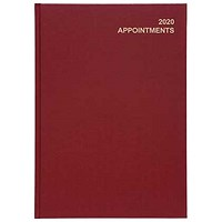 5 Star 2020 Appointment Diary, Day to a Page, A4, Red