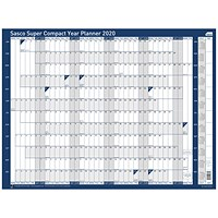 Sasco 2020 Super Compact Year Planner, Unmounted, 400x285mm