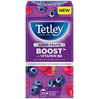 Tetley Super Green Tea Boost Raspberry and Blueberry with Vitamin B6 - Pack of 25