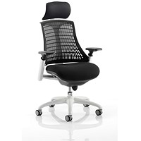 Trexus Flex Task Operator Chair With Headrest, Black Seat, Black Back, White Frame
