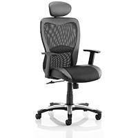 Trexus Victor II Leather and Mesh Executive Chair With Headrest, Black