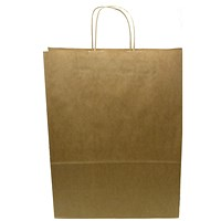 Kraft Paper Carrier Bag, Large, 320x420x150mm, Natural Brown, Pack of 100