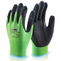 Click Kutstop Micro Foam Gloves, Nitrile, Cut Level 5, Small, Green, Pack of 10