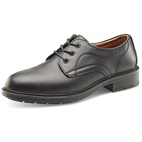 Click Footwear Managers Shoe, S1, Leather Upper STC, Size 10, Black