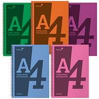 Silvine Notebook, A4, Wirebound, 160 Pages, Assorted, Pack of 5