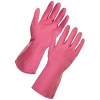 Supertouch Household Latex Gloves, Medium, Pink