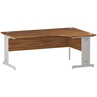 Trexus 1800mm Corner Desk, Right Hand, Cable Managed White Legs, Walnut