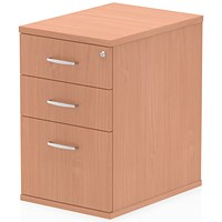 Trexus 3 Drawer Fixed Pedestal / Desk-High / 600mm Deep / Beech