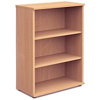 Trexus Medium Bookcase, 2 Shelves, 1200mm High, Beech