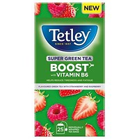 Tetley Super Green Tea Boost Strawberry & Raspberry with Vitamin B6 - Pack of 25