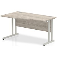Trexus 1400mm Wave Desk, Left Hand, Silver Legs, Grey Oak