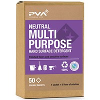 PVA Neutral Floor Cleaner Sachets, Lavender Scented, 50 Sachets