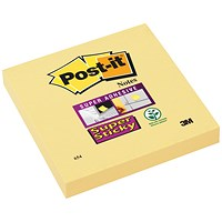 Post-it Super Sticky Notes Pad, 90 Sheets, 76x76mm, Canary Yellow