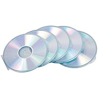 Fellowes Round Slimline CD Cases, Clear, Pack 5