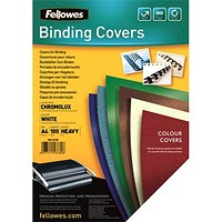 Fellowes Binding Covers, 250gsm, A4, White, Gloss, Pack of 100