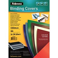 Fellowes Binding Covers, 250gsm, A4, Red Gloss, Pack of 100