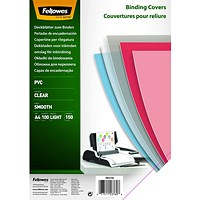 Fellowes Binding Covers, 150 Micron, Clear, A4, PVC, Pack of 100