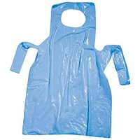 Disposable Aprons On Roll, Polythene, 27x46 inches, Blue, Roll of 200