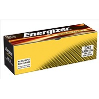 Energizer Industrial Long Life Battery, LR20, 1.5V, D, Pack of 12