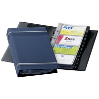 Durable Visifix Business Card Album, W145xH255mm, 4-ring, A-Z Index, Capacity: 200 Cards, Dark Blue