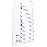 Concord Classic Index Dividers, 1-10, Mylar Tabs, A5, White