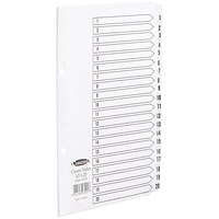 Concord Classic Index Dividers, 1-20, Mylar Tabs, A5, White