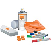 Nobo Whiteboard User Kit - Includes Eraser Refills, 4 Markers, Absorbent Cloths, Spray Cleaner and Magnets