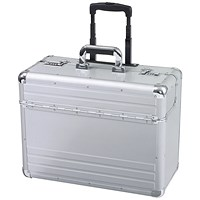 Alumaxx Omega Trolley Pilot Case, 2 Combination Locks, Silver Aluminium