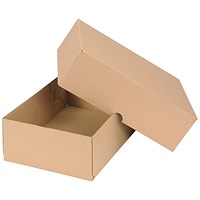 Self Locking Box Carton and Lid, A4, 305x215x100mm, Brown, Pack of 10