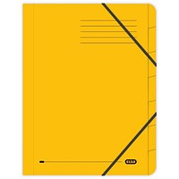 Elba Boston Elasticated Files, 7-Part, Foolscap, Yellow, Pack of 5