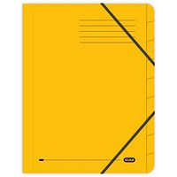 Elba Boston Elasticated Files, 9-Part, Foolscap, Yellow, Pack of 5