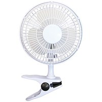 5 Star Clip-On Desk 2-Speed Fan, 6 Inch, White